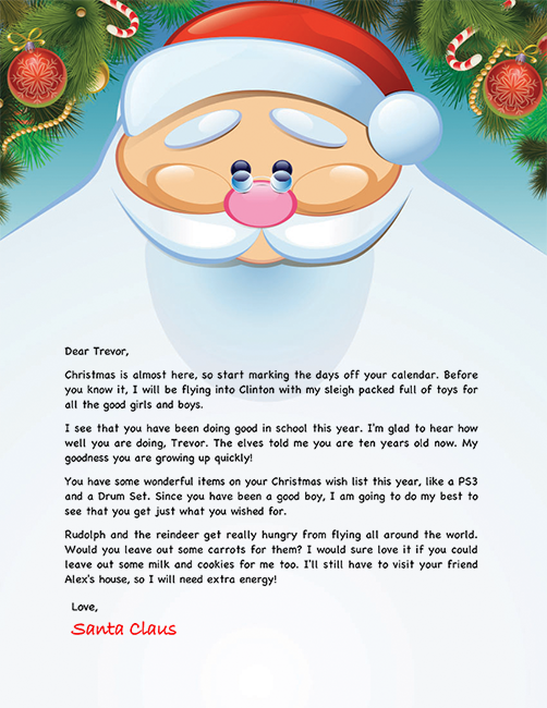 photograph about Printable Letters From Santa identify Santa Letter Illustration - Custom made Letters Versus Santa