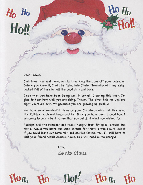 Santa letter example personalized letters from santa ho ho ho santa letter spiritdancerdesigns Image collections