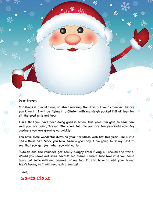 Santa letter example hobit. Fullring. Co.