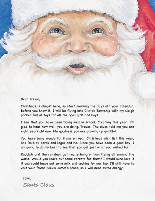 Santa letter example personalized letters from santa nostalgic santa letter spiritdancerdesigns Image collections