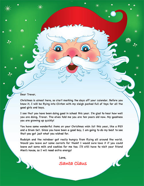 Santa Letter Example - Personalized Letters From Santa